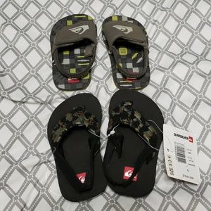 2 Pairs of Quicksilver flip flops